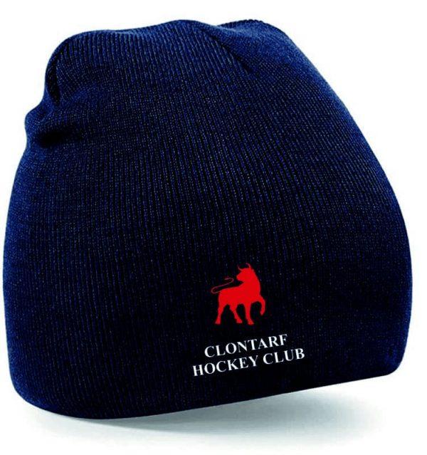 Navy Beanie Hat with Clontarf Hockey Club Logo